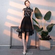 Piękne Czarne Sukienki Koktajlowe 2018 Princessa Aplikacje Wysokiej Szyi Kótkie Rękawy Asymetryczny Sukienki Wizytowe