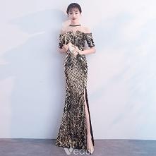 Błyszczące Czarne Złote Sukienki Wieczorowe 2018 Syrena / Rozkloszowane Cekiny Rhinestone Wycięciem Kótkie Rękawy Długie Sukienki Wizytowe
