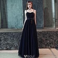 Piękne Czarne Sukienki Na Bal 2018 Princessa Kokarda Spleciona Spaghetti Pasy Bez Pleców Bez Rękawów Długie Sukienki Wizytowe