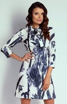 Nommo NA102 sukienka bloom Kobieca sukienka, uszyta z przyjemnego w dotyku materiału, piękny wzorzysty materiał, fason lekko przy ciele delikatnie podkreśli kobiecą sylwetkę