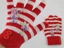 Art of Polo Rękawiczki damskie pięciolaczaste paseczki biało-czerwone