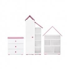 Zestaw mebli młodzieżowych,  4 el. PABIS biały/różowy