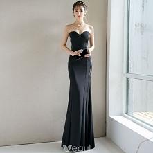 Seksowne Czarne Sukienki Wieczorowe 2018 Syrena / Rozkloszowane Bez Pleców Kochanie Bez Rękawów Długie Sukienki Wizytowe