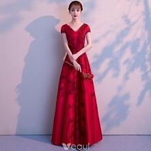 Eleganckie Burgund Sukienki Wieczorowe 2018 Princessa Z Koronki Kwiat V-Szyja Bez Pleców Kótkie Rękawy Długie Sukienki Wizytowe