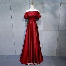 Proste / Simple Burgund Sukienki Wieczorowe 2018 Princessa Guziki Kokarda Przy Ramieniu Bez Pleców Kótkie Rękawy Długie Sukienki Wizytowe