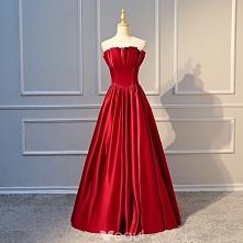 Proste / Simple Burgund Sukienki Wieczorowe 2018 Princessa Wzburzyć Bez Ramiączek Bez Rękawów Bez Pleców Długie Sukienki Wizytowe