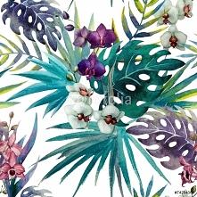 Fototapeta wzór liści orchidei