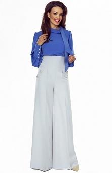 Bergamo spodnie typu szwedy szare Modne spodnie damskie z podwyższonym stanem, niezwykle eleganckie i wygodne, przód spodni ozdobiony złotymi guzikami, zapinane na zamek