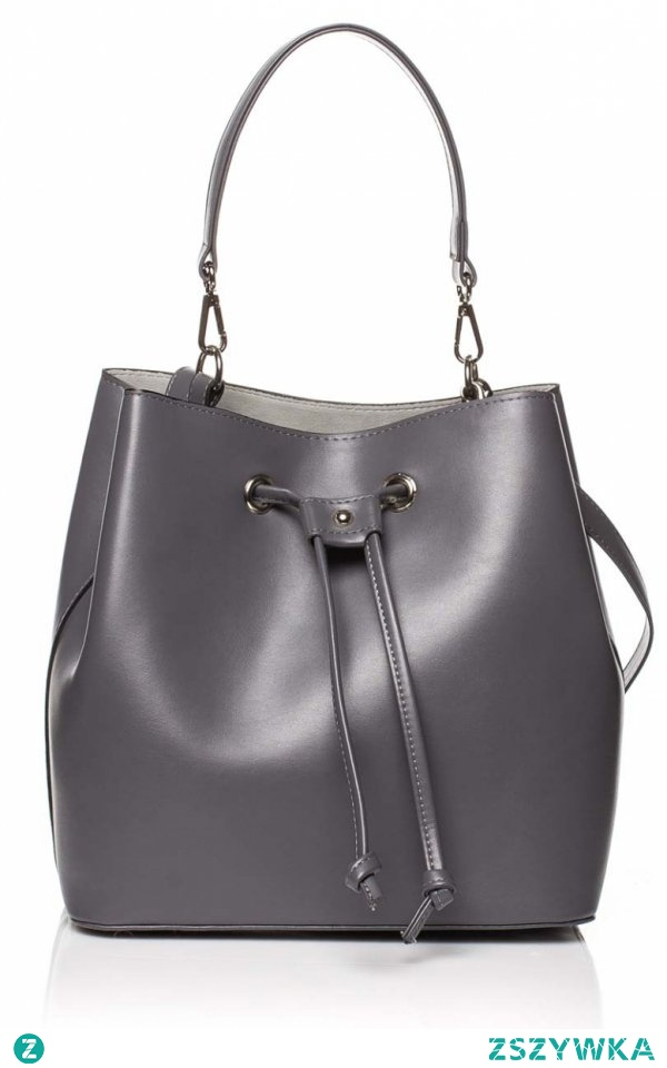Style SB418 torebka grafitowa Rewelacyjna torebka typu worek, wykonana została z miękkiej skóry ekologicznej, z przodu torebka posiada ozdobne wiązanie, w środku posiada zamykaną kieszeń