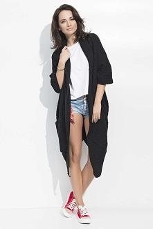 Czarny Długi Sweter-Narzutka z Kieszeniami