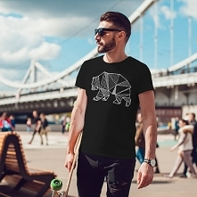 Niedźwiedź kreski męski tshirt koszulka czarna
