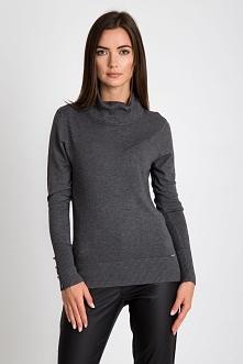 Szary sweter ze ściągaczowym golfem QUIOSQUE