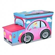 Pufa pojemnik Różowy Samochodzik kosz na zabawki