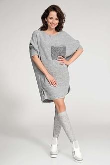 Długi Szary Sweter z Kontrastową Kieszenią