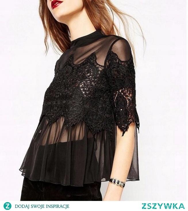 Seksowna damska koszulka z koronką i przezroczystym materiałem. Świetnie sprawdzi się na imprezę lub koncert! Kliknij w zdjęcie i zamów ją już dziś :)