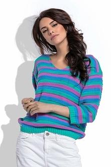 Zielony Lekki Sweter w Paski z Dekoltem V