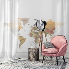 mapa świata na ścianie (naklejka: Myloview)