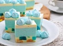 Ciasto smerfetka - bez pieczenia! SKŁADNIKI: około 20 sztuk podłużnych biszko...