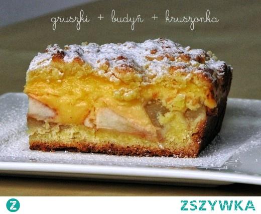 Ciasto z gruszkami, budyniem i kruszonką