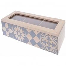 Piękne pudełko do herbaty - we wzory marokańskie - 3 przegródki