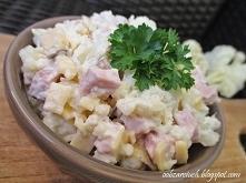 Sałatka kalafiorowa        1 kalafior      150 g szynki      150 g sera żółtego      2 łyżki majonezu      sól      pieprz   Kalafior gotujemy w lekko osolonej wodzie, a następn...