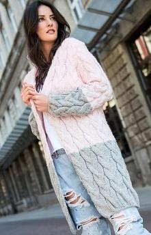 Numinou S37 sweter różowo-szary Modny długi kardigan damski świetnie będzie wyglądać do codziennych stylizacji, wykonany z miękkiej dzianiny ozdobionej pięknym warkoczowym splot...