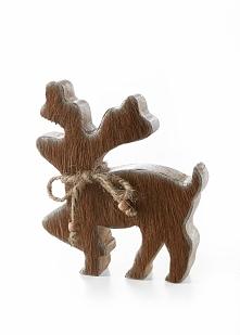 Renifer z drewna z wstawkami z krowiego futerka bonprix brązowy