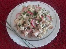 Sałatka z ziemniaków i wędzonego fileta  2 ugotowane ziemniaki 25 dag. wędzonego fileta z kurczaka 3 ogórki konserwowe 1 puszka groszku konserwowego 5 rzodkiewek 3 łyżki majonez...