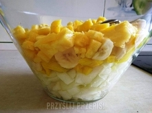 Słoneczna warstwowa sałatka owocowa        Wszystkie owoce umyć, obrać ze skórki. Z melona trzeba usunąć miąższ i pestki. Mango obkrawamy usuwając pestkę. Twardy środek ananasa ...