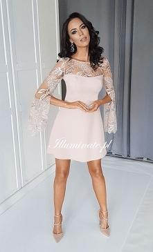 Nowa sukienka w kolekcji Illuminate <3 Beżowa z pięknymi rękawami <3