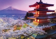 Świątynia na tle góry, Japonia :) Puzzle na puzzlefactory.pl :)