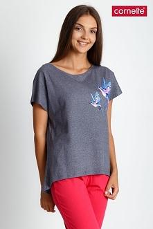 Szaro-koralowa trzyczęściowa piżama QUIOSQUE