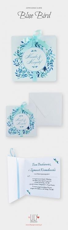 Botaniczne zaproszenia ślubne z kolekcji Bluebird
