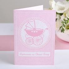 Zaproszenie na Chrzest św. Różowy Wózek 10 szt. Piękne i delikatne zaproszenia na Chrzest Święty z motywem różowego wózka to niezbędnik podczas organizacji przyjęcia!