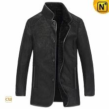 Men Sheepskin Jacket | CWMALLS® Albany Custom Embossed Sheepskin Coat CW87701...