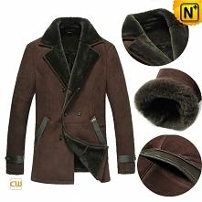 Custom Sheepskin Coat | CWMALLS® Columbus Men Sheepskin Pea Coat CW878558 [Bl...