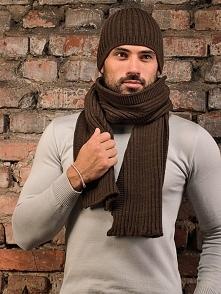 Zestaw (2 szt.) w kolorze brązowym - czapka, szalik