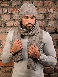 Zestaw (2 szt.) w kolorze szarobeżowym - czapka, szalik