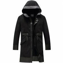 Black Friday | CWMALLS® Philadelphia Men Sheepskin Coat with Hood CW808518 [T...