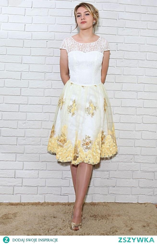 Sukienka wieczorowa z koronkową górą i złotymi haftami na tiulu. Sukienka na studniówkę, na wesele, na poprawiny.