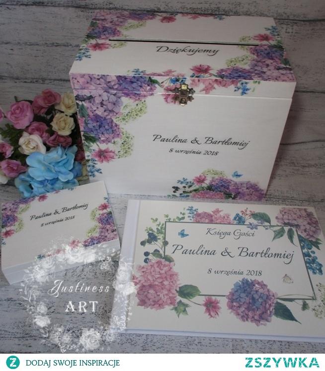 Zestaw ślubny: pudełko na koperty, na obrączki i księga gości