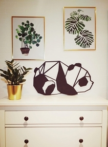 Panda <3 Dekoracja do domu, ścienna, na półkę. Czarno-biały wzór geometryc...