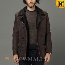 Online Shopping | CWMALLS® Denver Men Custom Sheepskin Pea Coat CW858333 [Bla...