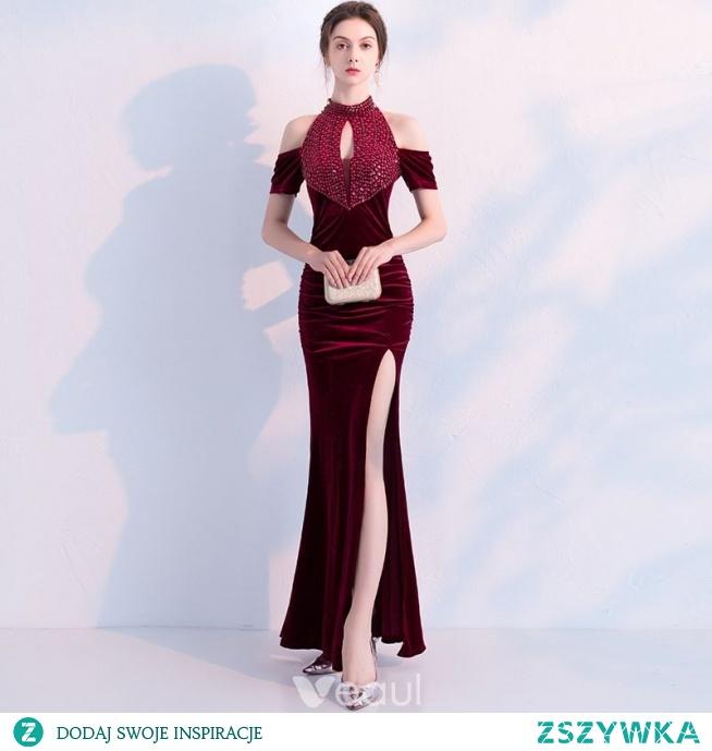 d541bdef30 Uroczy Burgund Sukienki Wieczorowe 2019 Syrena   Rozkloszowane .. na ...