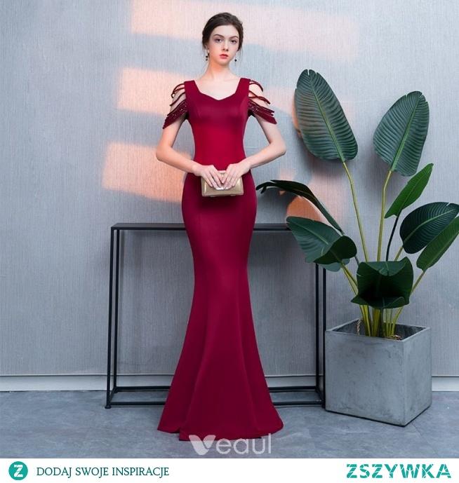 e5b076aa52 Piękne Burgund Sukienki Wieczorowe 2019 Syrena   Rozkloszowane .. na ...