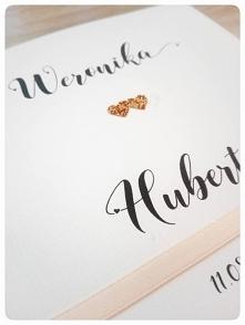zaproszenia ślubne brokatowe serca fb: perfekcyjna kartka