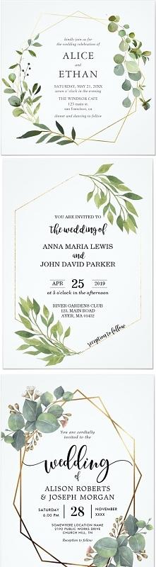 Zaproszenia - motyw eukaliptus