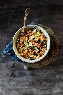 Jedwabiste risotto z cykorią i grzybami