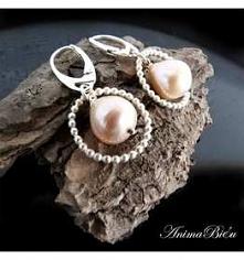 srebrne kolczyki ręcznie robione z perłą
