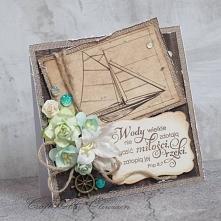 Oryginalna kartka ślubna w stylu marynistycznym, ze stemplowanym cytatem z Pi...